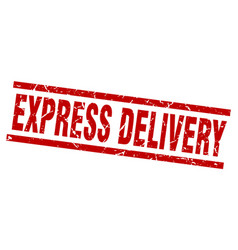 Square grunge red express delivery stamp vector