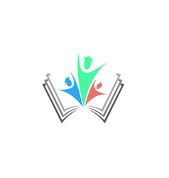 students group open hands success in a book vector image