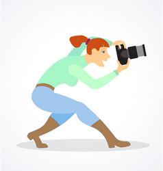 Stylized cartoon female photographer vector