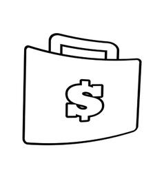 Suitcase money business accessory line vector