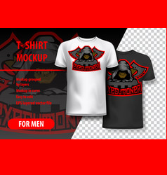 T-shirt mockup with executioner phrase in two vector