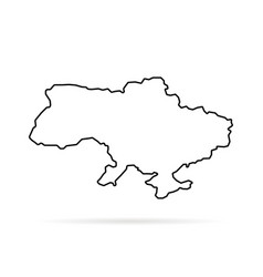 thin line ukraine map with shadow vector image