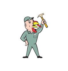 Turkey Builder Hammer Standing Cartoon vector image