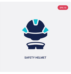 two color safety helmet icon from construction vector image