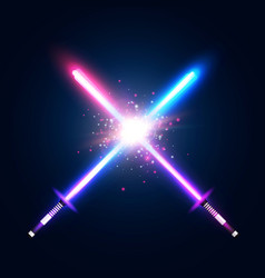 two crossed light neon swords fight vector image