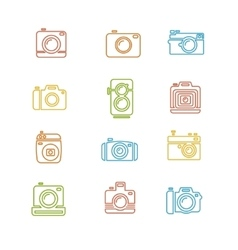 Vintage Photo Camera Colorful Icon Line Art vector image