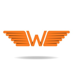 W - letter with wings logo in the orange style vector image