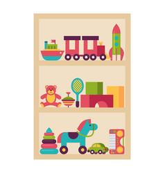 Wardrobe children toy plaything shelf isolated vector