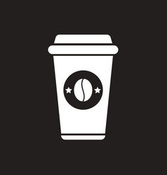 White icon on black background coffee to go vector