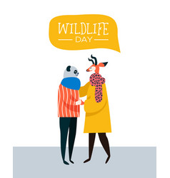 Wildlife day greeting card of animal friends vector