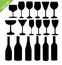wine bottles and glass silhouette vector image
