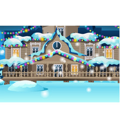 Wooden house festively decorated with garlands vector