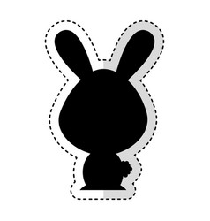 cute rabbit silhouette isolated icon vector image vector image