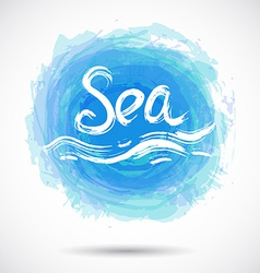 Grunge background with bright blue splash Sea vector image