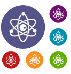 Atomic model icons set vector