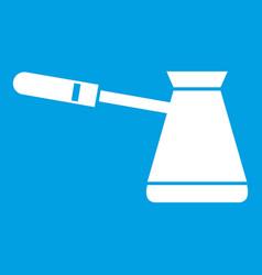 Coffee cezve icon white vector