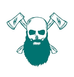Skull with beard and Crossed Axes vector image