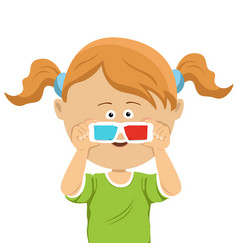 cute little girl with 3d glasses vector image