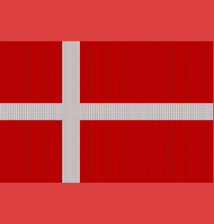 flag of denmark on a knitted woolen texture vector image