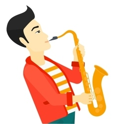 Man playing saxophone vector