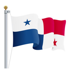 waving panama flag isolated on a white background vector image vector image