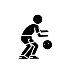 basketball player icon black vector image
