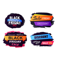 black friday sale stickers on vector image vector image