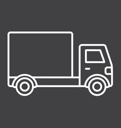 delivery truck line icon transport and vehicle vector image vector image