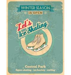 Ice skating retro poster vector image