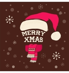 Merry Christmas - Santa hat with lettering vector image