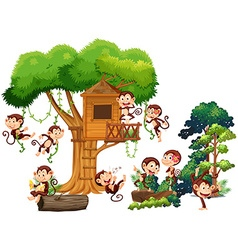Monkeys playing and climbing up the treehouse vector image vector image