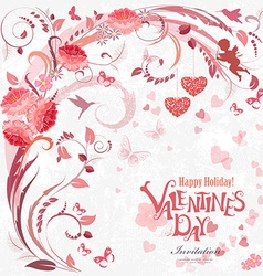 Romantic invitation card with floral elements for vector image