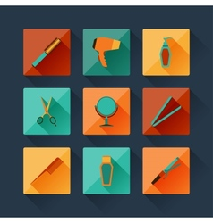 Set of hairdressing icons in flat design style vector image vector image