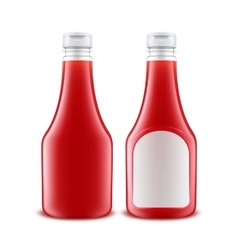 Set of Plastic Red Ketchup Bottle with White label vector image vector image
