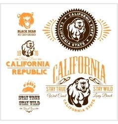Set of stylish retro badges with bears - vector image