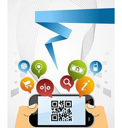 Smart Phone QR code application background vector image vector image