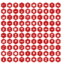 100 health food icons hexagon red vector