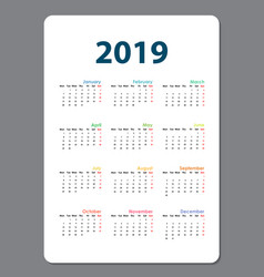2019 calendar templatecalendar 2019 set of 12 vector image