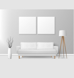 3d realistic render white sofa couch with vector image