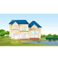 A big house near the lake vector
