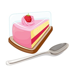 A slice of cake and a tablespoon vector image