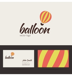 Air balloon logo template with business card vector