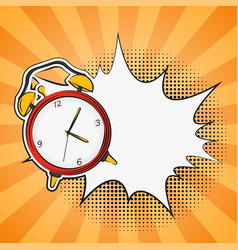 Alarm clock comics in pop art style vector