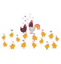 Animal chicken rooster and yellow little chicks vector