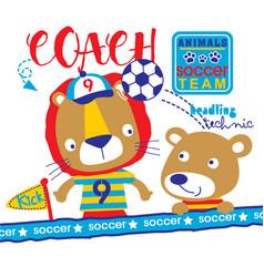 Animals soccer team cartoon vector