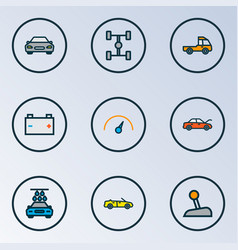 automobile icons colored line set with speedometer vector image
