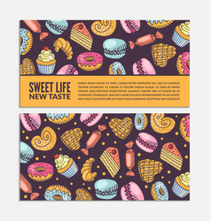 Banners with colorful sketches of delicious vector