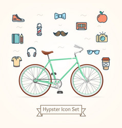 Bike and icon hypster concept vector