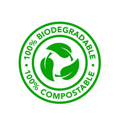 biodegradable and compostable icon product vector image