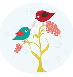 Birds on the flower in love vector
